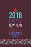 Merry Christmas and Happy New Year 2016 Poster. Bonus seamless pattern snowflakes Royalty Free Stock Photography