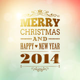 Merry christmas and happy new year 2014 poster. Merry christmas and happy new 2014 year poster card vector illustration