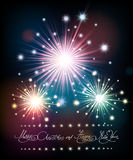 Merry Christmas and Happy New Year Poster with Firework. Merry Christmas and Happy New Year Poster with Festive firework and hand written lettering. Vector Royalty Free Stock Image