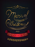 Merry Christmas and Happy New Year poster. Merry Christmas and Happy New Year glitter lettering design. Vector Illustration Stock Photography