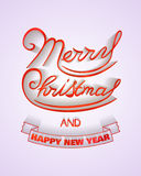Merry Christmas and Happy New Year poster. Merry Christmas and Happy New Year glitter lettering design. Vector Illustration Stock Image