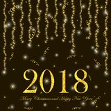 Merry Christmas and Happy New Year poster with gold numerals 201. 8 and shiny background. Vector illustration Stock Photography
