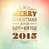 Merry christmas and happy new year 2015 poster. Greeting card royalty free illustration