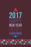 Merry Christmas and Happy New Year 2016 Poster, Greeting card. Creative colorful poster Christmas and New Year Holidays. Greeting card, business concept Royalty Free Stock Photography