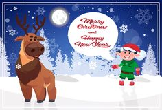 Merry Christmas And Happy New Year Poster With Holiday Characters In Winter Forest Royalty Free Stock Photography