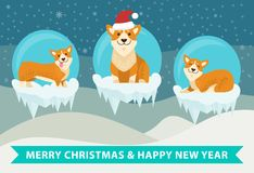 Merry Christmas and Happy New Year Poster royalty free illustration
