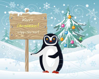 Merry Christmas and Happy New Year Poster Penguin Stock Photography