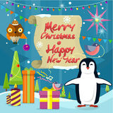 Merry Christmas and Happy New Year Poster Penguins Stock Photos
