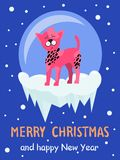 Merry Christmas Happy New Year Vector Illustration. Merry Christmas and Happy New year poster, pink dog standing on ice with circle on background, snowflakes on Royalty Free Stock Image