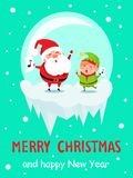 Merry Christmas Happy New Year Poster Santa Elf. Merry Christmas Happy New Year poster Santa and Elf in glass ball merrily sing carol songs with note sign on stock illustration