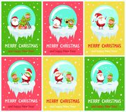Merry Christmas Happy New Year Poster Santa Elf. Merry Christmas and Happy New Year posters Santa and Elf in glass ball decorate tree on ladder, dance on cute stock illustration