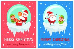 Merry Christmas Happy New Year Poster Santa Elf. Merry Christmas and Happy New Year posters set Santa and Elf in glass ball collect gift boxes and sing carol royalty free illustration