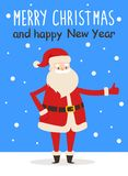 Merry Christmas Happy New Year Poster Santa Snow. Merry Christmas and Happy New Year poster Santa Claus with raised thumb finger up showing ok gesture sign Royalty Free Stock Photos