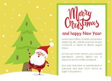 Merry Christmas Happy New Year Poster Santa Tree. Merry Christmas and Happy New Year poster with Santa enjoying snow in winter forest, spruce tree with pine vector illustration
