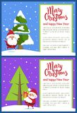Merry Christmas Happy New Year Poster Santa Tree. Merry Christmas and Happy New Year posters set with Santa Claus near evergreen spruce tree covered by snow in Stock Photography