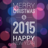Merry Christmas and Happy New Year 2015. Poster / Template / Background Design Stock Photos