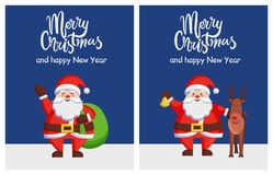 Merry Xmas Happy New Year Poster Santa Bag Deer. Merry Christmas and Happy New Year posters with Santa Claus waving hand holding bag and reindeer walking vector illustration