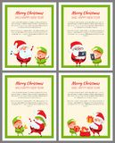 Merry Christmas and Happy New Year Posters Santa. Merry Christmas and Happy New year posters with Santa and elf vector bannerss with place for text. Father stock illustration