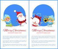 Merry Christmas Happy New Year Santa Snow Maiden. Merry Christmas and Happy New Year posters with Santa and Snow Maiden listening to music, dancing on head Stock Photo