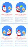 Merry Christmas Happy New Year Santa Snow Maiden. Merry Christmas Happy New Year posters Santa Snow Maiden playing hide-and seek, searching ideas stars over head Stock Photography