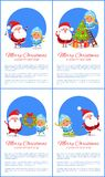 Merry Christmas Happy New Year Santa Snow Maiden. Merry Christmas and Happy New Year posters with Santa and Snow Maiden singing carol songs, decorating tree from Royalty Free Stock Image