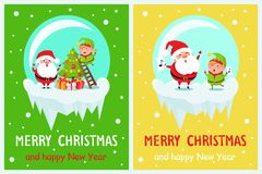 Merry Christmas Happy New Year Poster Santa Elf. Merry Christmas and Happy New Year posters set Santa and Elf in glass ball decorate Xmas tree on ladder, sing stock illustration