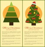 Merry Christmas Happy New Year Posters with Tree. Merry Christmas and Happy New Year posters tree geometric shapes, vector green spruce plant made of triangles stock illustration