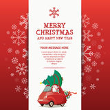 Merry Christmas and Happy New Year Rad Car. Santa Tree Gift Design Template Royalty Free Illustration
