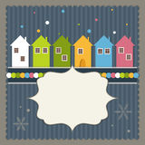 Merry Christmas And Happy New Year Real Estate Card. With Colorful Houses And Snowflakes Royalty Free Stock Photos