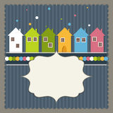 Merry Christmas And Happy New Year Real Estate Card. With Colorful Houses And Snowflakes Stock Image