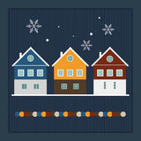 Merry Christmas And Happy New Year Real Estate Card. With Scandinavian Houses And Snowflakes Royalty Free Stock Images