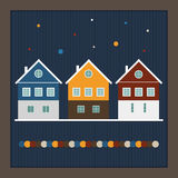 Merry Christmas And Happy New Year Real Estate Card. With Scandinavian Houses And Snowflakes Stock Photo