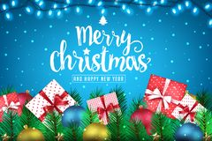 Merry Christmas and Happy New Year Realistic Creative Banner with Lots of Presents