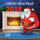 Merry christmas and happy new year 2018. Realistic Santa Claus Cartoon Cute Character. Holidays Background with Season Wishes. Merry christmas and happy new Vector Illustration