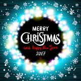Merry Christmas and Happy New Year 2017 realistic ultra blue colorful light garlands like round frame on a transparent background,. Vector. Vector vintage retro Stock Photos