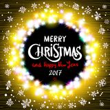 Merry Christmas and Happy New Year 2017 realistic ultra colorful light garlands. Like round frame on a transparent background, calligraphy. Light bulbs, retro vector illustration