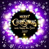 Merry Christmas and Happy New Year 2017 realistic ultra violet colorful light garlands like round frame on a transparent backgroun. D, vector. art Stock Photos