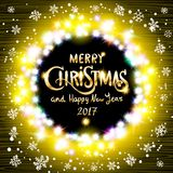 Merry Christmas and Happy New Year 2017 realistic ultra yellow colorful light garlands like round frame on a transparent backgroun. D, calligraphy. Light bulbs vector illustration