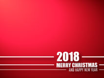 Merry Christmas and Happy New Year red background. 2018 background Royalty Free Stock Images