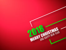 Merry Christmas and Happy New Year red background. 2018 background Royalty Free Stock Photos