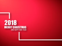 Merry Christmas and Happy New Year red background. 2018 background Royalty Free Stock Photography
