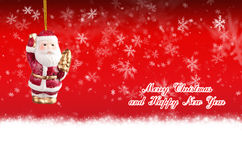 Merry Christmas and Happy New Year red background with balls Stock Images