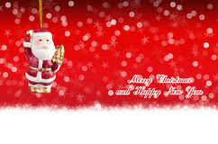 Merry Christmas and Happy New Year red background with balls Stock Photos