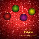 Merry Christmas and Happy New Year red background with christmas balls. Vector background for your greeting cards, invitations, festive posters royalty free illustration