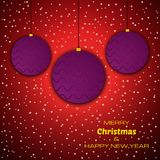 Merry Christmas and Happy New Year red background with christmas balls. Vector background for your greeting cards, invitations, festive posters stock illustration