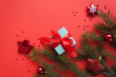 Merry Christmas and Happy New Year. Red background stock images