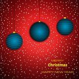Merry Christmas and Happy New Year red background with christmas balls. Vector background for your greeting cards, invitations, festive posters vector illustration