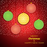 Merry Christmas and Happy New Year red background with colorful christmas balls. Vector background for your greeting cards, invitations, festive posters vector illustration