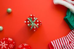 Merry Christmas and Happy New Year. Red background royalty free stock image