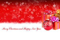 Merry Christmas and Happy New Year red background with gifts Royalty Free Stock Photo